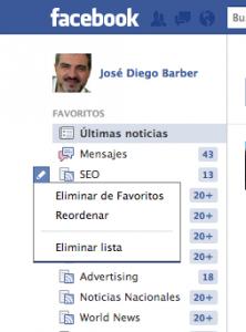 Cómo reordenar los favoritos en Facebook