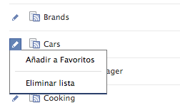 Cómo añadir tus listas a los favoritos en Facebook